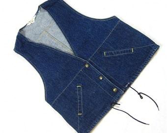 Vintage 70s Denim Lee Womens Vest, Cowgirl Chic
