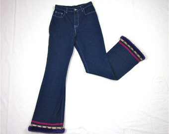 Vintage 70s Boho Curvy High Waist Jordache BellBottom Jeans, Sz S