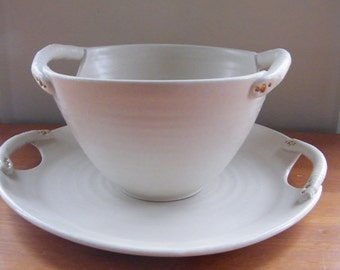 White Bowl and Platter serving set with cut out handles and 14K gold detail