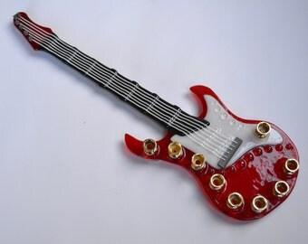 Electric guitar glass menorah by YafitGlass
