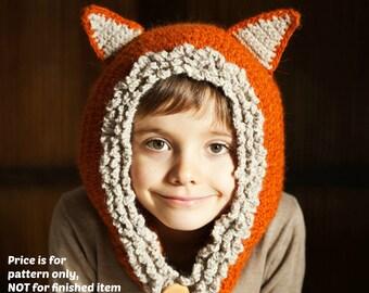 Crochet PATTERN  - Fox - Wolf Hat Hoodie (sizes baby, toddler, child, adult)