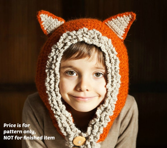 Instant download - Hat and scarf Crochet PATTERN (pdf file) - Fox - Wolf Hat Hoodie (sizes baby, toddler, child, adult)