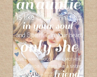 Gift for Aunt, An Auntie is Like Sunshine... // A special art print featuring your photo ... // Archival Giclée Art Print // H-Q21-1PS ZZ1