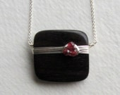Tiger Ebony Wood and Red Garnet Gemstone Necklace - Wooden Jewelry - Handmade Jewelry - Sterling Silver Necklace - Gift for Her