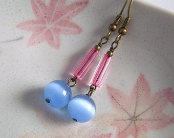 Blue Cats Eye Earrings, Pink Tube, Blue Glass Earrings, Long Dangle Earrings