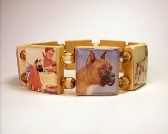 BOXER Scrabble Bracelet / DOG JEWELRY / Upcycled Canine Lover Gift