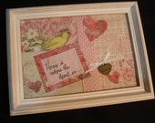 Inspirational Quote - Home is where the heart is - Decorated with papers, fabric, ribbons & LOVE charm -6x8 inches- Shabby chic frame