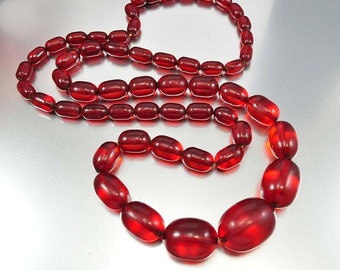 Art Deco Cherry Amber Necklace, Bakelite Bead Necklace, Oval Graduated Beads, 130 Grams, Vintage 1920s Large Barrel Beads, 40 in