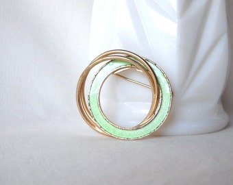 Vintage Brooch Circle Pin Rhinestone Pale Green Brooch Secretary Style