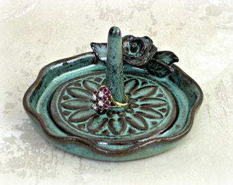 Decorative Ring Dish with Rose in Aqua