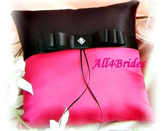 Hot pink and black wedding ring pillow.  Wedding ring bearer cushion.
