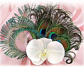Peacock Wedding Bridal Fascinator With White Orchid And Peacock Feathers