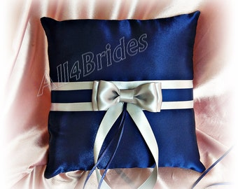Wedding ring pillow in navy blue and silver gray, wedding ring bearer cushion.