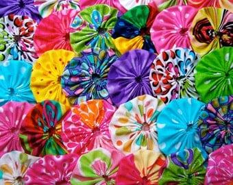 Fabric Flower Applique YOYO 40 BRIGHTS 2 Inch Barrette Hair Clip Trim