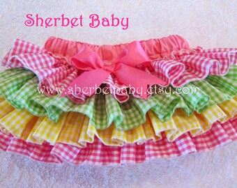 Four Ruffle Classic Sassy Pants Classic Style Original Ruffle Diaper Cover Bloomers Pink Green Yellow Gingham Checks