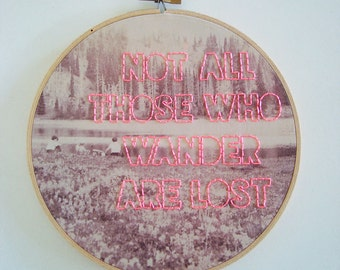 Embroidered Wander Quote on Found Vintage Photograph Fabric Hoop