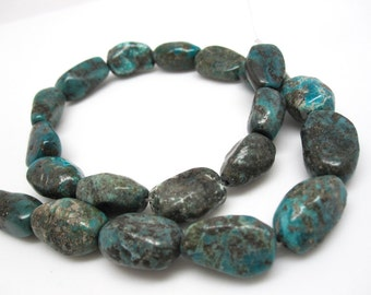 Turquoise Nugget Beads, Turquoise Beads, Blue Green, Large Nuggets, Loveofjewelry, SKU 4273A