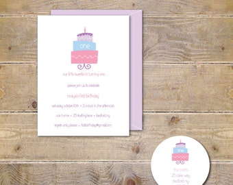 First Birthday Invitations, Invites, Girl, Cake, Sweets, Birthday Cake, Pink, Purple, 1st Birthday, Party Invitations - Birthday Cake