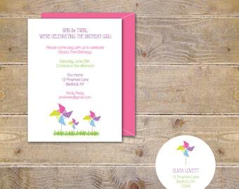 Pinwheel Invitations . Pinwheel Birthday Invitations . Second Birthday . First Birthday Invitations . Girl's Birthday - Blowing Pinwheels