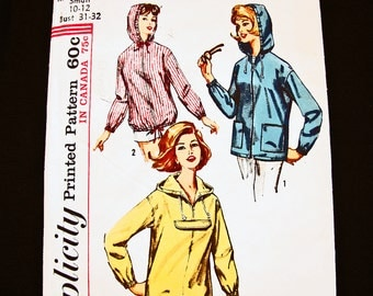 1960s Jacket Pattern Misses size 10 12 UNCUT Womens Hooded Jacket with Pockets Pattern 60s Vintage Sewing Pattern