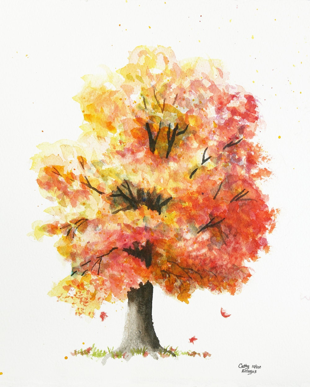 Autumn tree watercolor painting print by cathy hillegas for Autumn tree painting