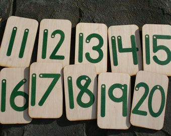 """Sandpaper Numbers 11-20 mounted on 3""""x5"""" birch"""