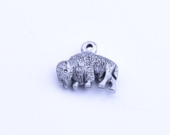Buffalo Charm, 3D 17mm x 11mm with loop , antique Silver, 02090AS, 6 ea