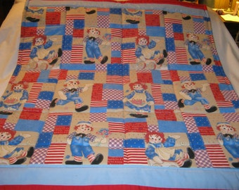 Handmade Baby Vintage Raggedy Ann and Andy Cotton Baby/Toddler Quilt-Newly Made2017