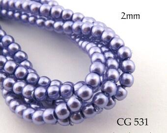 2mm Czech Glass Pearls Lavender Round (CG 531) BlueEchoBeads 50pcs