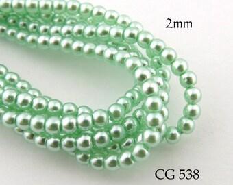 2mm Czech Glass Pearls Apple Green Round (CG 538) 50pcs BlueEchoBeads