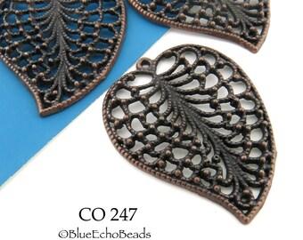 48mm Large Lacy Filigree Leaf Charm / Pendant Antique Copper Tone (CO 247) 1 pc BlueEchoBeads