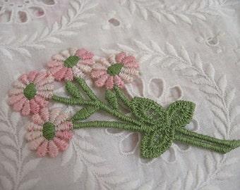 Set of FOUR Floral Embroidered Appliques Vintage