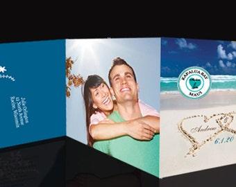 Hawaii-Florida-Islands Send + Seal Wedding Invitation + perforated rsvp card & colored envelopes
