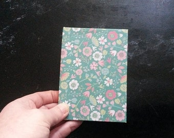 Hand-bound A7 Green Floral notebook