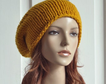 Hand knit hat - Mustard yellow hat, slouchy hat - ready to ship