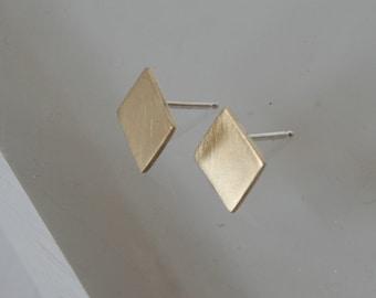 Brass Diamond Shape Stud Earrings, Square Earrings, Gold Stud Earrings, Geometric Earrings, Geometric Jewelry, Square Earrings