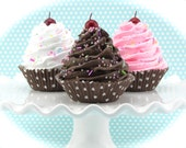 Chocolate, Strawberry and Vanilla Fake Cupcake Set. Set of 3 Cupcakes with Brown Polka Dot Cupcake Liner. Home Decor, Birthday Photo Props