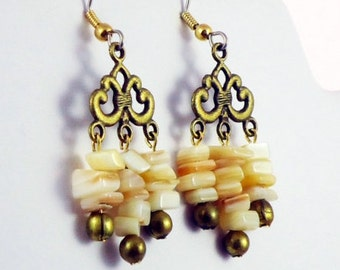 Vintage Brass and Shell Dangle Earrings