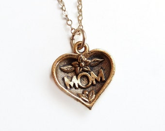 Mom Heart Charm on 14k Gold fill - Mother's Day Jewelry
