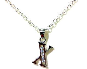 Alphabet X Necklace, Initial Letter Pendant, Personalized Jewelry, Sterling Silver Chain