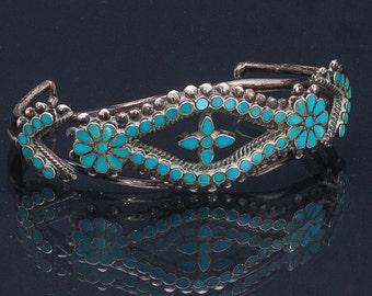 Zuni Flush Inlay Bracelet - Early Dishta - 50s Floraform Inlay Sterling