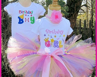 Custom -  Twin,His and Hers, Birthday Girl and Boy, Party Outfits,Theme Partie,  Size 1yr, 2yrs,3yrs.