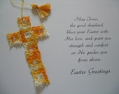 Cross Bookmark Tatted Variegted Yellow Lace Shuttle Tatting with Vintage Thread Easter