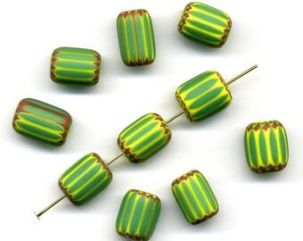 Antique Venetian Chevron Beads 6 Layers Green, Yellow & Red 10 Pcs.
