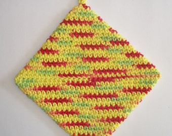 Magic Crochet Pot Holder, Double Sided, Tropical Colors, Yellow Trivet, Hot Pad, Single Potholder, Cotton Yarn, Made in America