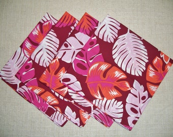SALE - Maroon & Orange Tropical Foliage Cotton Cloth Dinner Napkins, Set of 4 Napkins, Eco Friendly, Re-usable Cloth Napkins