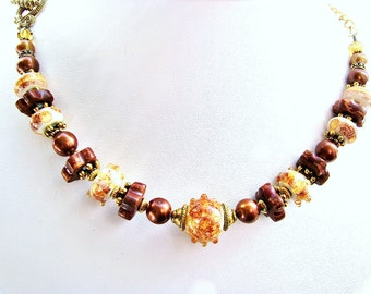 25% OFF SALE Lampwork Glass Necklace, Red Brown Amber, Copper Pearls, 22k Gold Plated Pewter, Antiqued Brass, Serpent Toggle Clasp, Bohemian