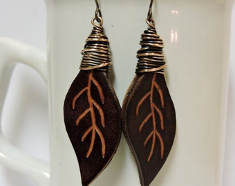 Copper Wire Wrapped Leather Leaf Earrings