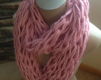 Pale Pink Arm Knit Infinity Scarf