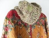 Cowl scarf knit neckwarmer, felted wool maple leaf, women's winter hood soft merino wool green beige wide headband dread wrap crochet i413